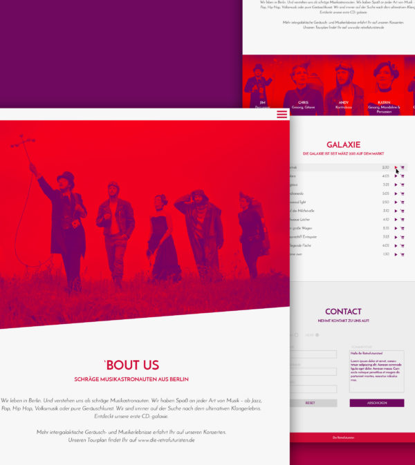 Retrofuturisten-Band-Webdesign